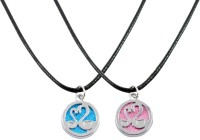 Alphaman The Two Love Birds Couple Pendant Alloy, Leather