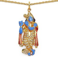 Johareez Fashion 7.70 Grams White Cubic Zirconia Sky Blue, White & Black Enamel Gold Plated Brass Lord Krishna Shape Pendant Yellow Gold Plated Cubic Zirconia Brass Pendant