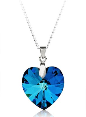 Ziveg Blue Sapphire Pendant Made With Swarovski Elements Acrylic Platinum Plated Pendant