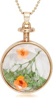 Urthn Gold Finish Round Finish Green & Orange Transparent Glass - 1202419 Alloy Pendant