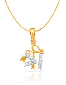 Mahi Yellow Gold Cubic Zirconia Brass, Alloy Pendant