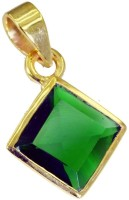 Riyo Magnetic Green Emerald Cz Pendant Yellow Gold Plated Cubic Zirconia Copper Pendant