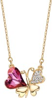 Swarovski Elements Austria Crystal & Rhinestone Charm Necklace Butterfly Heart Design 14k Gold Plated 14K Yellow Gold Plated Metal Pendant
