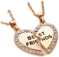 Antique Best Friends 2 Separate Piece Friendship Gift Yellow Gold Plated Metal Pendant Set