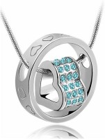 Eterno Crystal & Silver Pendant For Women -Blue & Silver Rhodium Crystal Alloy Pendant