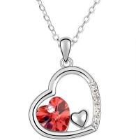 KYRA Red Heart Rhodium Alloy Pendant