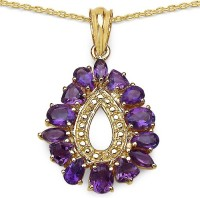 Johareez 3.35CTW Genuine Amethyst 14K Yellow Gold Plated .925 Sterling Silver Pendant Yellow Gold Plated Amethyst Sterling Silver Pendant