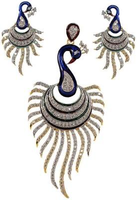 Zaisch Attractive Peacock Enamel Alloy Pendant Set