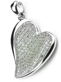 Swank Silver Heart Love Cubic Zirconia Sterling Silver Pendant