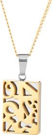 Voylla Artifictial Classic Plain Yellow Gold Stainless Steel Pendant