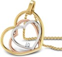 CaratLane Triple Heart Gold 18K Yellow Gold, 18K White Gold, 18K Rose Gold Plated Pendant