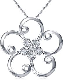 Kirati Flower Shape Platinum NAK Cubic Zirconia Sterling Silver Pendant