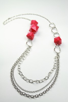 Nesarang Pink Pyramid Beaded Necklace - NT2917 Crystal Pendant Set