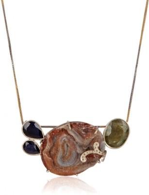 Lazreena Lazreena Natural Stone Jewellery Limited Edition Collection Silver Pendant (Beige\/Sand\/Tan)