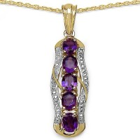 Johareez 1.70CTW Genuine Amethyst 14K Yellow Gold Plated .925 Sterling Silver Pendant Yellow Gold Plated Amethyst Sterling Silver Pendant