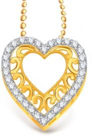 VK Jewels Superb Heart Valentine 18K Yellow Gold Cubic Zirconia Alloy Pendant