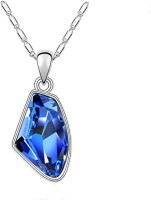 Eterno Exquisite Austrian Crystal Studded Pendant Necklace With Chain - Persian Blue Rhodium Crystal Alloy Pendant