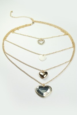 Nesarang Layered Heart Necklace - NT3432 Copper Pendant Set
