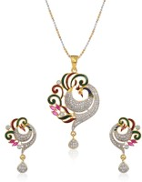 Bandish Gold Toned American Diamond Peacock (with Chain) Alloy Pendant Set