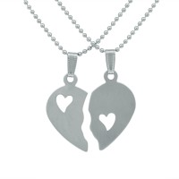 Memoir You Broke My Heart ,two Piece Love Men And Women Stainless Steel Pendant