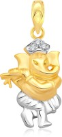 Classic Singing Ganesh Gold And Rhodium Plated Pendant [CJ1008PG] Yellow Gold 18K Cubic Zirconia Alloy Pendant