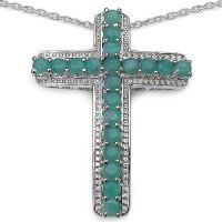Johareez 2.00CTW Genuine Emerald .925 Sterling Silver Cross Shape Pendant Rhodium Emerald Sterling Silver Pendant