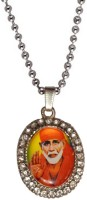 Men Style Silver Plated And Stone Studded Shirdi Sai Baba NAK Alloy Pendant Set