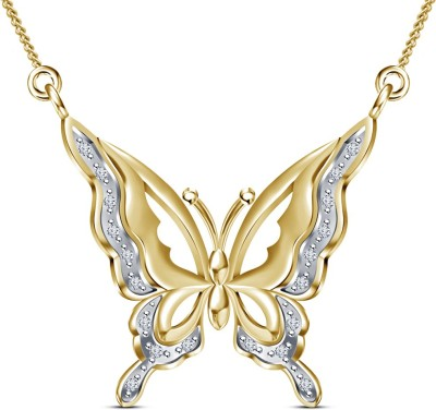 Kirati Graceful Butterfly Shape 14K Yellow Gold Cubic Zirconia Sterling Silver Pendant available at Flipkart for Rs.3557