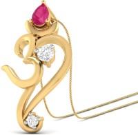 WearYourShine By PCJ The Three Stone Om Ganesha 18K Diamond, Ruby Gold Pendant