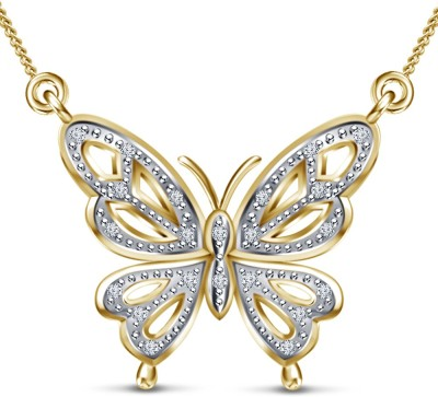 Kirati Butterfly Shape 14K Yellow Gold Cubic Zirconia Sterling Silver Pendant available at Flipkart for Rs.3593