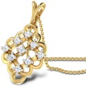 CaratLane Sparkling Lattice Gold Pendant