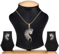 Bandish American Diamond Premium Mayur Design With Chain 18K Yellow Gold Cubic Zirconia Alloy Pendant Set