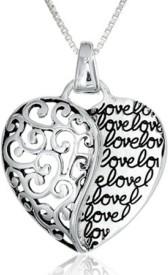 Antique Heart Shape Pendant with Graffitti Letter (Love) +Velvet Pouch Silver Metal Pendant