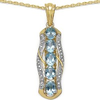 Johareez 2.50CTW Genuine Blue Topaz 14K Yellow Gold Plated .925 Sterling Silver Pendant Yellow Gold Topaz Sterling Silver Pendant