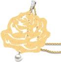 CaratLane Lustrous Rosette Gold 18K White Gold, 18K Yellow Gold Plated Pendant