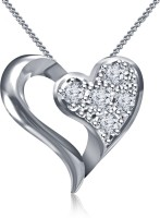Kirati Heart Valentine Day Gift For Your Dear One Platinum Cubic Zirconia Sterling Silver Pendant