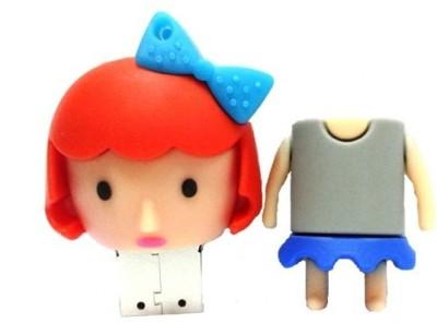Microware Cute Girl 8 GB  Pen Drive (Grey)