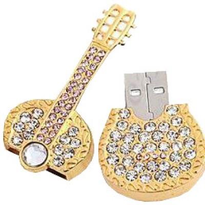 Microware Guitar Shape Golden Jewellery Designer 4 GB Pen Drive