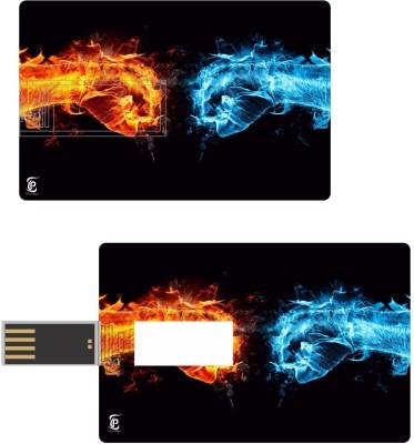 Print Shapes Golden & blue hands Credit Card Shape