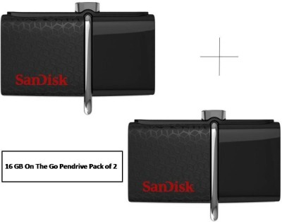 SanDisk On-The-Go ( Combo ) 16 GB  Pen Drive (Black)