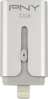PNY Duo-Link for iPhone and iPad + on the Go 16 GB  Pen Drive (Silver)
