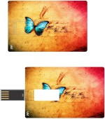 Print Shapes Blue butterfly with colourfull abstract Credit Card Shape