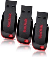 Sandisk Cruzer Blade USB Flash Drive (BLACK & RED) - 3Pc 8 GB  Pen Drive (Black)