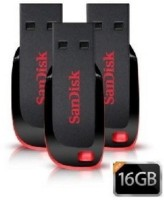 Sandisk Cruzer Blade USB Flash Drive (BLACK & RED) - 3pc 16 GB  Pen Drive (Black)