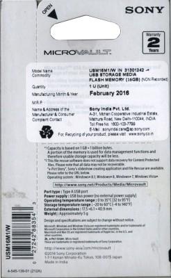 Sony Micro Vault USM16M1/W 16 GB Pen Drive (White)