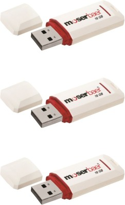 Moserbaer Pack of 3 16 GB  Pen Drive (White)