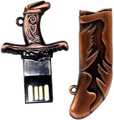 Zeztee Pen Drive Kirpan Shape Copper Color USB 2.0 16 GB  Pen Drive (Brown)