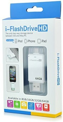 Roq i-FlashDevice 64 GB  Pen Drive (White)