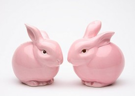 Cosmos 61107 Gifts Ceramic Pink Bunny Salt And Pepper Set