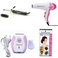 Style Maniac Hair Curling Rod , Hot And Cold Dual Function Hair Dryer With A Complementary 22 Amazing Hairstyles Booklet Personal Care Appliance Combo (Hair Dryer, Hair Curler, Epilator)